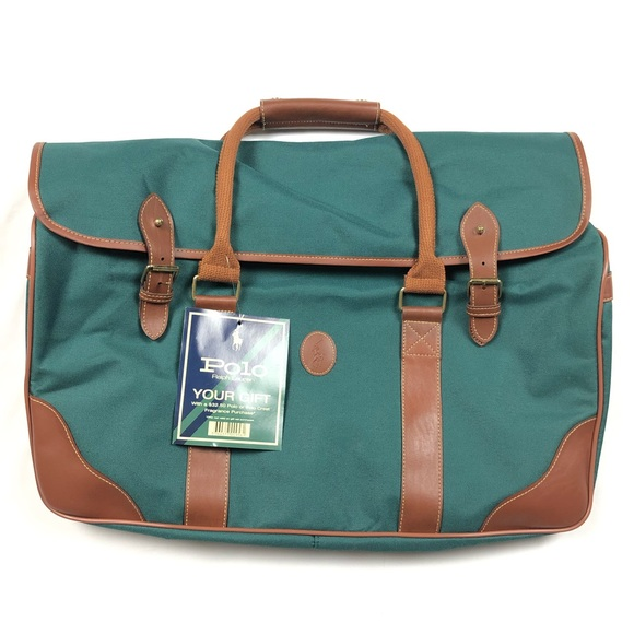 385fb523764d Polo Ralph Lauren Green   Brown Leather Duffle Bag